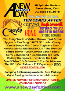 50th Anniversary Tour 2018 - A New Day Festival , Canterbury Sat 4th August @ Mt Ephrain Gardens, Faversham Kent | Hernhill | England | United Kingdom